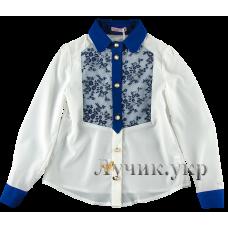 (91336) [р. 122] Блуза нарядная для девочки ЧАРЛИ. SUZIE БЛ-22709. Молочный С Синим. Шелк, Шифон, Кружево