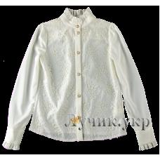(91323) [р. 158] Блуза нарядная для девочки НИКОЛЕТ. SUZIE БЛ-26709. Молочный. Шелк, Шифон, Кружево