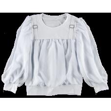 (73407) [р. 140] Блузка трикотажная нарядная для девочки. ЛЯ-ЛЯ 3Т189В. Белый. Стрейч-Кулир