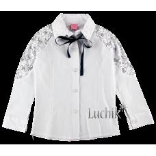 (108673) [р. 146] Блуза нарядная для девочки. SEVVAL 2621. Белый. Рубашечная Ткань