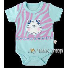 (107036) [р. 68] Боди-футболка для малышей. VEO BABY 13724/1. Голубой1. Кулир