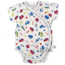 (131476) [р. 62] Боди-распашонка для новорожденного с коротким рукавом. LOTEX 011-03/2. Молочный С Голубым. Кулир