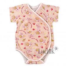 (131473) [р. 62] Боди-распашонка для новорожденного с коротким рукавом. LOTEX 011-03/1. Персиковый. Кулир
