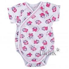 (131472) [р. 62] Боди-распашонка для новорожденного с коротким рукавом. LOTEX 011-03/1. Белый С Сиреневым. Кулир