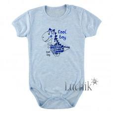 (315236) [р. 92] Боди-футболка для мальчика. МАМИНЕ ЧАДО 51-21. Голубой Меланж. Ластик/Рибана