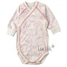 (128814) [р. 56] Боди-распашонка для новорожденного. BABY CITY 1332-1/1. Молочный С Розовым. Интерлок