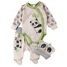(129312) [р. 56] Комплект для новорожденного. SWEET MARIO 9-11-19. Серый Меланж. Интерлок