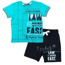 (120531) [р. 110] Комплект летний для мальчика (футболка + шорты). CARRINOS 19-1044. Бирюзовый Меланж. Кулир