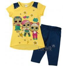 (121138) [р. 104] Комплект летний для девочки. BRIZZ 1041. Желтый С Синим. Стрейч-Кулир