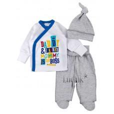 (125187) [р. 56] Комплект для новорожденного. MERRY BEE 12492. Белый С Синим. Интерлок