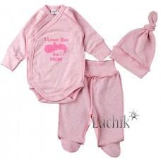 (125185) [р. 56] Комплект для новорожденного. MERRY BEE 12496. Розовый Меланж. Интерлок