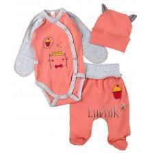 (125173) [р. 56] Комплект для новорожденного. SWEET MARIO 9-11-16. Коралловый С Серым. Интерлок