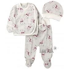 (127775) [р. 62] Комплект для новорожденного. ФЛАМИНГО ТЕКСТИЛЬ 605-222/1. Молочный С Розовым. Интерлок