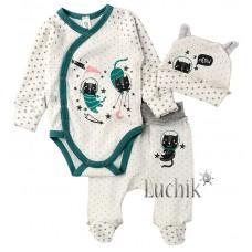 (128783) [р. 56] Комплект для новорожденного. SWEET MARIO 10-11-1. Белый С Зеленым. Интерлок