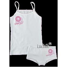 (75884) [р. 128] Комплект белья для девочки (майка + трусики) КОЛЬЦА. GABBI 00168. Белый. Стрейч-Кулир