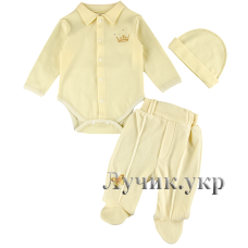 (87288) [р. 62] Комплект нарядний для мальчика из 3-х вещей. HAPPY TOT 506. Молочный. Велюр, Интерлок