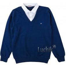 (124312) [р. 164] Реглан школьный для мальчика. FIGO 2351. Темно-Синий. Стрейч-Футер
