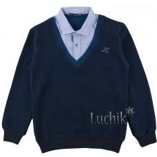 (124306) [р. 170] Реглан школьный для мальчика. BLUELAND 9256. Темно-Синий. Стрейч-Футер