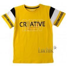 (130638) [р. 152] Футболка для мальчика. DIVONETTE 1034. Желтый/Черный. Трикотаж