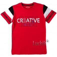 (130639) [р. 152] Футболка для мальчика. DIVONETTE 1034. Красный/Черный. Трикотаж