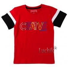 (130635) [р. 110] Футболка для мальчика. DIVONETTE 1022. Красный/Черный. Трикотаж