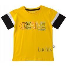(130625) [р. 128] Футболка для мальчика. DIVONETTE 1022. Желтый/Черный. Трикотаж