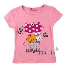 (131304) [р. 104] Футболка для девочки . BOBITO 2404. Розовый. Трикотаж