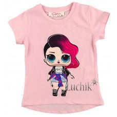 (120893) [р. 98] Футболка для девочки (глазки куклы LOL светятся). BO&BO 19-7897. Розовый. Стрейч-Кулир