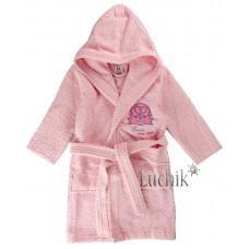 (115773) [р. 104 - 110] Халат детский из хлопковой махры. RAMEL 403/1. Розовый1. Махра Натуральная