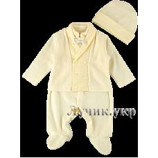 (87284) [р. 68] Комбинезон нарядный с шапочкой для мальчика. HAPPY TOT 728В. Молочный. Велюр