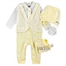 (73032) [р. 56] Комплект нарядный для мальчика . GARDEN BABY 29170-02. Молочный. Интерлок