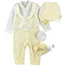 (73035) [р. 62] Комплект нарядный для мальчика. GARDEN BABY 29169-02. Молочный. Интерлок