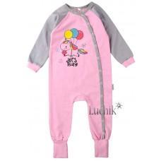 (125017) [р. 98] Комбинезон-спальник детский теплый. SWEET MARIO 3-08-11. Розовый С Серым. Футер С Начесом