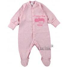 (125181) [р. 56] Комбинезон детский. MERRY BEE 12497/1. Розовый Меланж. Интерлок