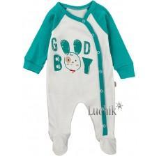(127899) [р. 56] Комбинезон (человечек) для мальчика. PUAN BABY 5902. Молочный/Ментоловый. Интерлок