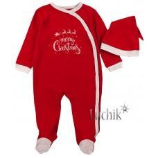 (128010) [р. 74] Человечек нарядный для малыша с шапочкой. КЕНА 112232-13. Красный. Интерлок