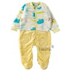 (114406) [р. 68] Комбинезон теплый детский. ВИТУСЯ 0709126/2. Молочный С Желтым. Велсофт