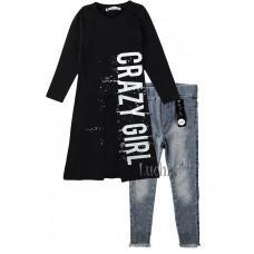 (129018) [р. 152 - 158] Туника + брюки джинс для девочки. H.A 393. Черный/Серый. Трикотаж, Джинс