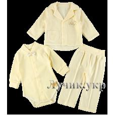 (87298) [р. 80] Комплект нарядний для мальчика из 3-х вещей. HAPPY TOT 638В. Молочный. Велюр, Интерлок