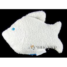 (86694) [р. Стандартный] Мочалка для купания РЫБКА. СОНЯ 4505. Белый. Махра Натуральная