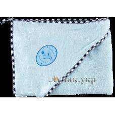 (86815) [р. Стандартный] Полотенце махровое для купания малышей (размер 85х95 см). SMIL 119005. Голубой. Махра Натуральная