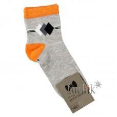 (324099) [р. 7 years (стопа 19 - 19.5)] Носки для мальчика. UCS M0C0101-1380. Серый С Оранжевым. Хлопок