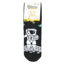(126626) [р. 3 - 5 years (обувь 25 - 27)] Махровые носки теплые для мальчика (с антискользящими тормозками). BROSS 17608. Черный. Хлопок-Махра
