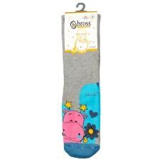 (126641) [р. 5 - 7 years (обувь 28 - 30)] Махровые носки теплые для девочки (с антискользящими тормозками). BROSS 15570. Серый С Бирюзовым. Хлопок-Махра