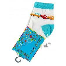 (1070) [р. 9] Хлопковые детские носочки NIREY (с АВS тормозками). GHARMANTE SNK. Белый С Бирюзовым. Хлопок С Abs