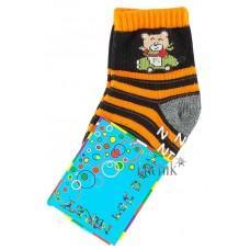 (1073) [р. 9] Хлопковые детские носочки NIREY (с АВS тормозками). GHARMANTE SNK. Черный С Оранжевым. Хлопок С Abs