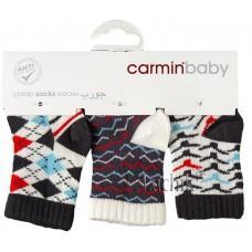 (115733) [р. 0 - 3m] Носочки хлопковые детские (3 пары на пластине) . CARMIN BABY 960/1. Графитовый. Хлопок