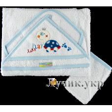 (97648) [р. Стандартный] Полотенце махровое для купания малышей (размер 80х80см). RAMEL 396. Белый. Махра Натуральная