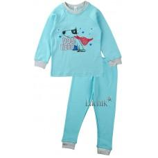 (125051) [р. 104] Пижама для мальчика. SWEET MARIO 989-28/2. Голубой С Серым. Интерлок