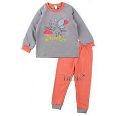 (125031) [р. 98] Пижама теплая для девочки. SWEET MARIO 983-28/1. Серый С Коралловым. Футер С Начесом